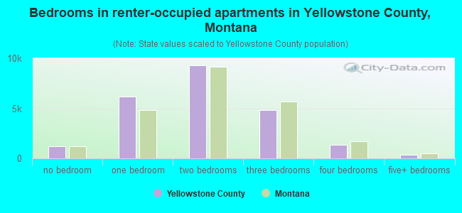 Bedrooms in renter-occupied apartments in Yellowstone County, Montana
