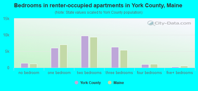 Bedrooms in renter-occupied apartments in York County, Maine