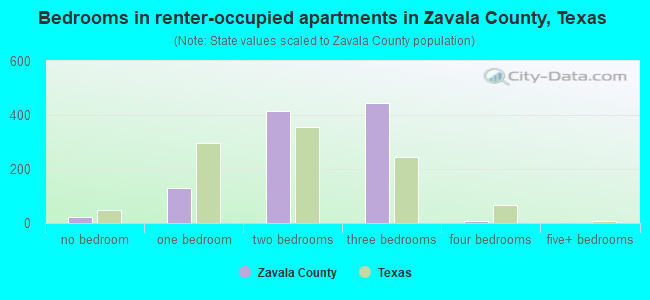 Bedrooms in renter-occupied apartments in Zavala County, Texas