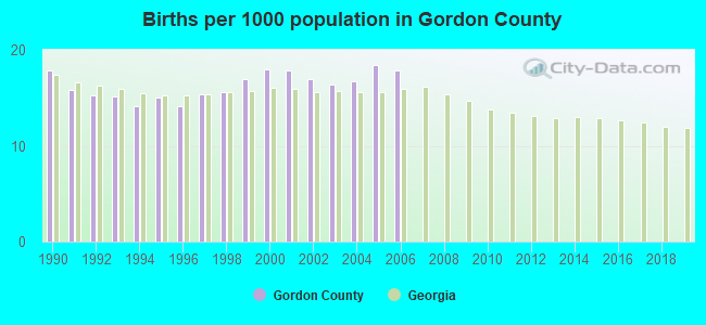 Births per 1000 population in Gordon County