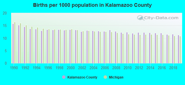 Births per 1000 population in Kalamazoo County
