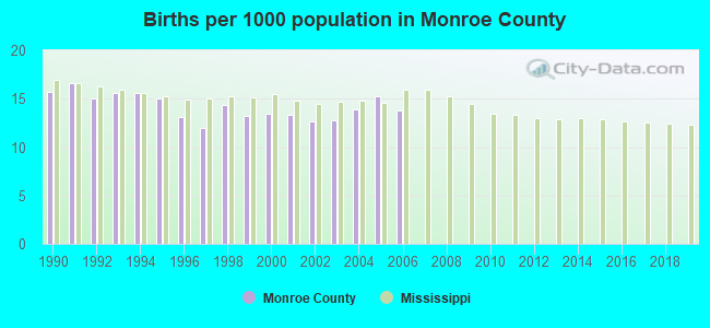 Births per 1000 population in Monroe County