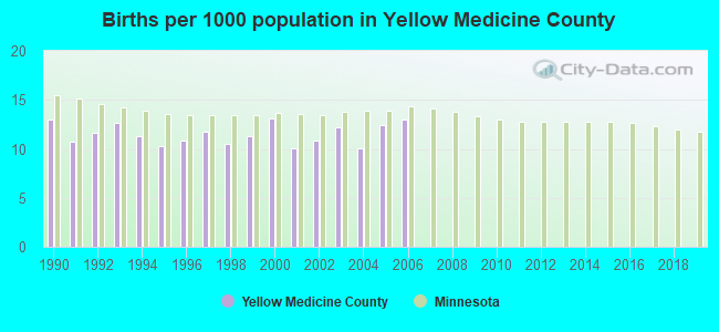 Births per 1000 population in Yellow Medicine County