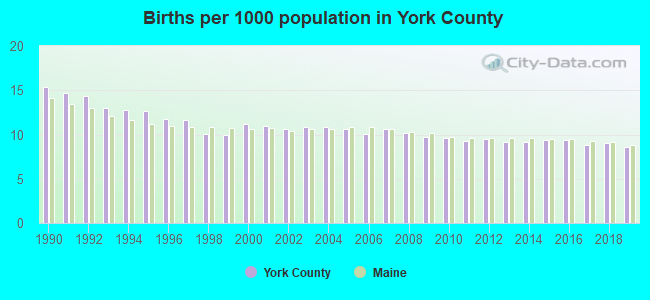 Births per 1000 population in York County