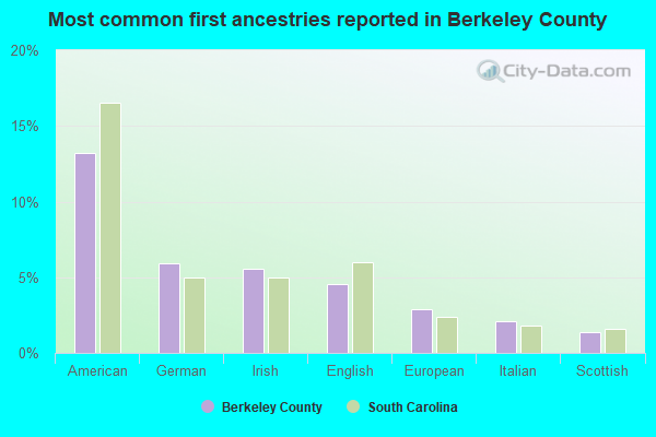 Most common first ancestries reported in Berkeley County