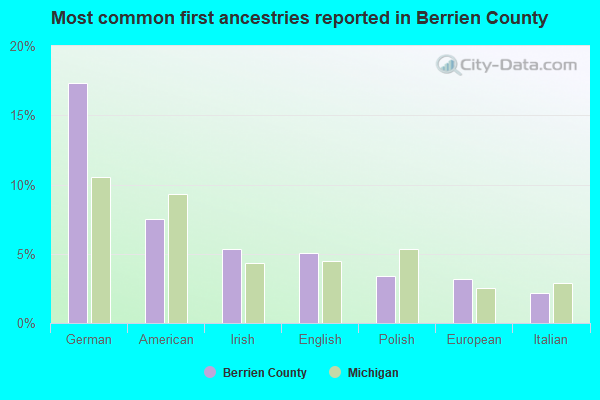 Most common first ancestries reported in Berrien County