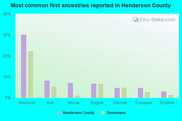 Most common first ancestries reported in Henderson County