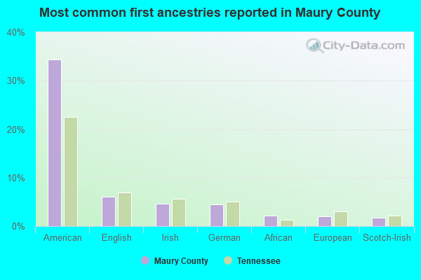 Most common first ancestries reported in Maury County