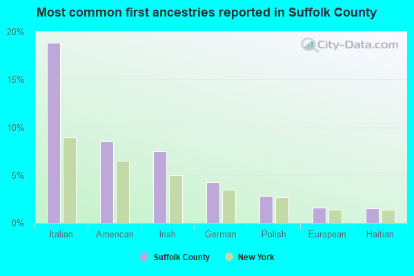 Most common first ancestries reported in Suffolk County