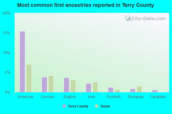Most common first ancestries reported in Terry County