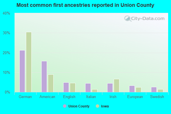 Most common first ancestries reported in Union County