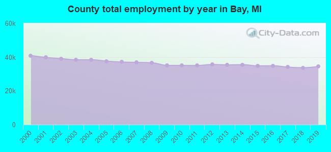 County total employment by year in Bay, MI