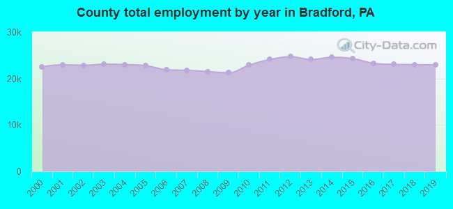 County total employment by year in Bradford, PA
