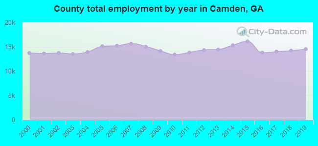County total employment by year in Camden, GA