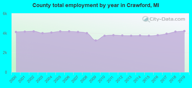 County total employment by year in Crawford, MI