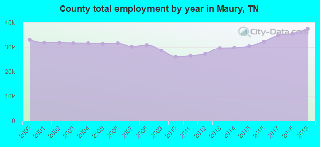 County total employment by year in Maury, TN