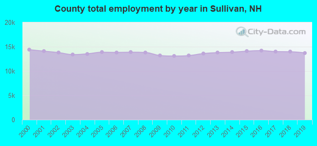 County total employment by year in Sullivan, NH