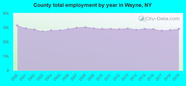 County total employment by year in Wayne, NY