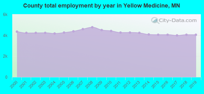 County total employment by year in Yellow Medicine, MN