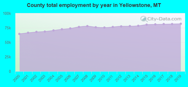 County total employment by year in Yellowstone, MT
