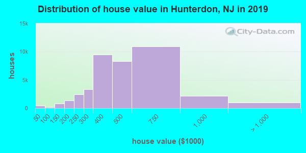 Hunterdon County home values distribution