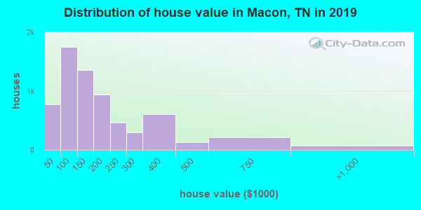 Distribution of house value in Macon, TN in 2019