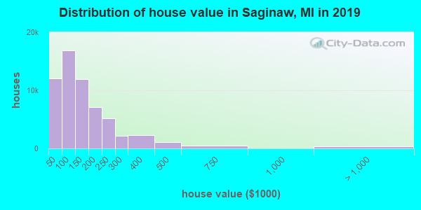 Saginaw County home values distribution