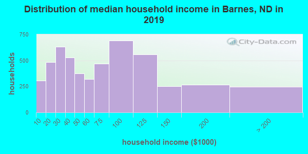 Barnes County household income distribution in 2009