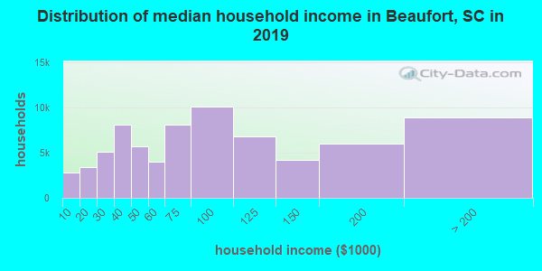 Beaufort County household income distribution in 2009