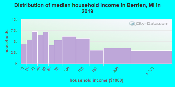 Distribution of median household income in Berrien, MI in 2019