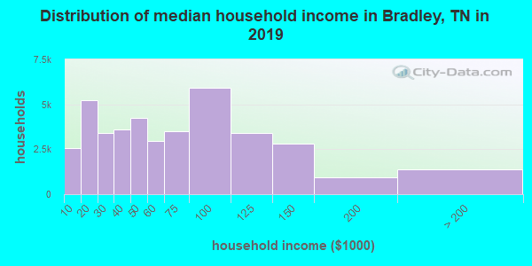 Bradley County household income distribution in 2009