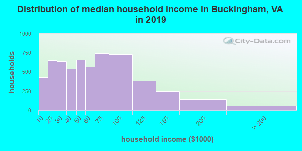 Buckingham County household income distribution in 2009