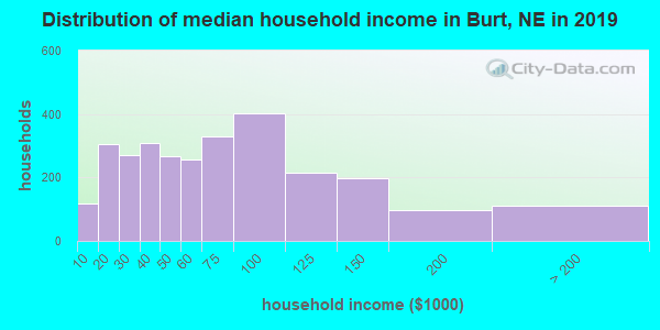 Burt County household income distribution in 2009