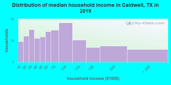 Caldwell County household income distribution in 2009