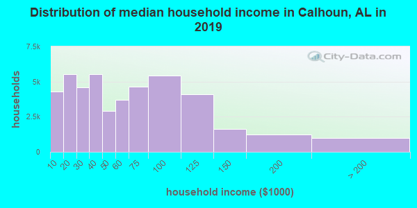 Calhoun County household income distribution in 2009