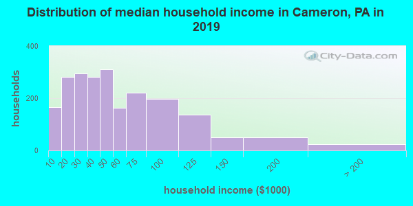 Cameron County household income distribution in 2009