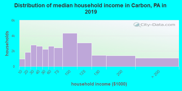 Carbon County household income distribution in 2009