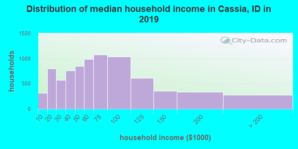 Cassia County household income distribution in 2009