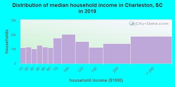Charleston County household income distribution in 2009