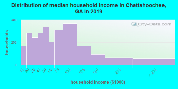 Chattahoochee County household income distribution in 2009