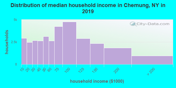 Chemung County household income distribution in 2009