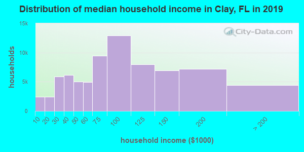 Clay County household income distribution in 2009