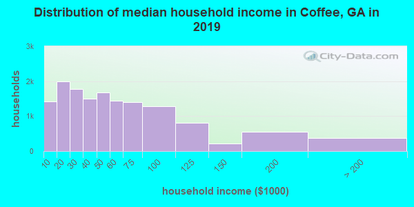 Coffee County household income distribution in 2009