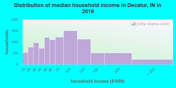 Decatur County household income distribution in 2009