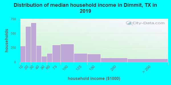 Dimmit County household income distribution in 2009
