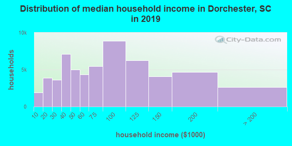 Dorchester County household income distribution in 2009