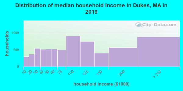Dukes County household income distribution in 2009