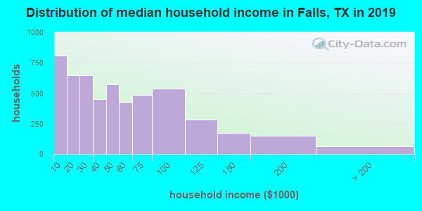 Falls County household income distribution in 2009