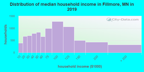 Fillmore County household income distribution in 2009