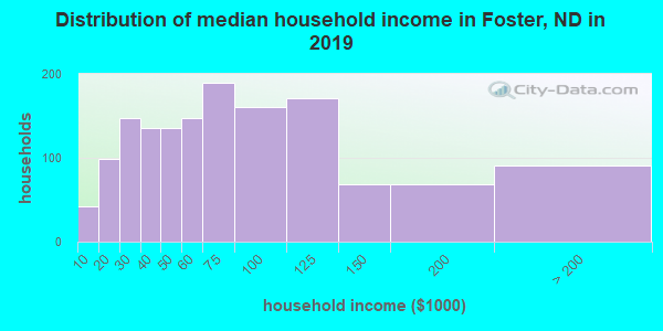 Foster County household income distribution in 2009